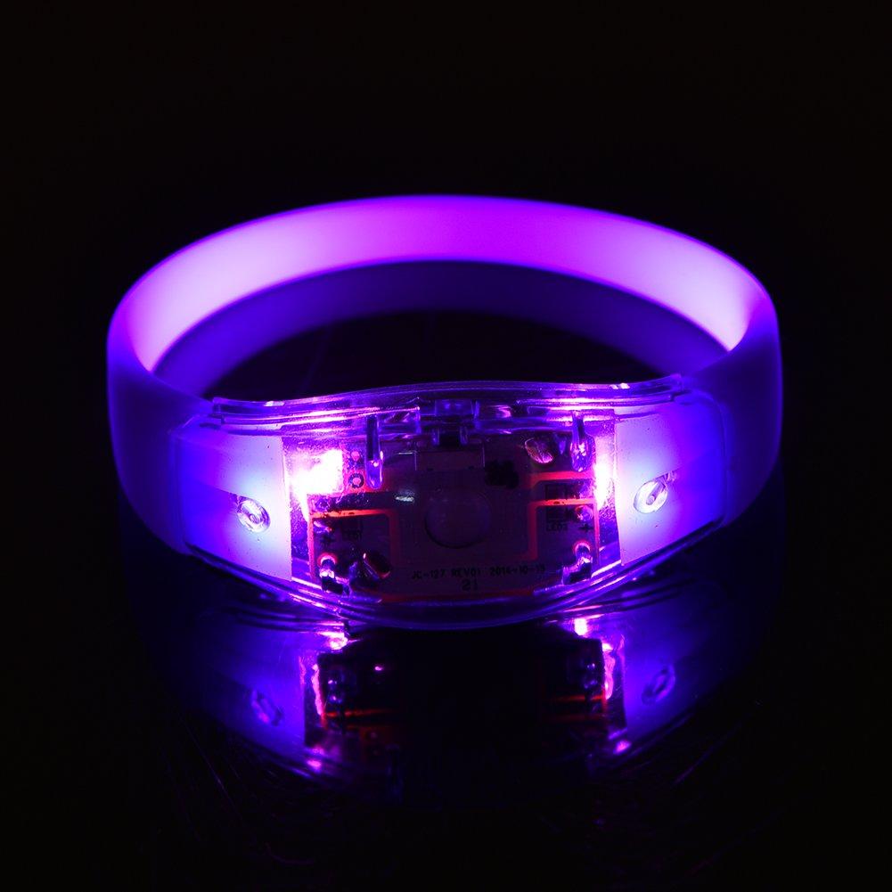 Wandisy Flash LED Light Bracelet Concert Bracelet de Silicium Bracelet 8 Couleurs