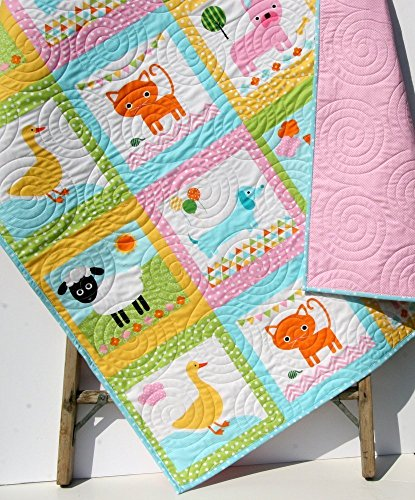 Animal Baby Quilt, Patchwork, Baby Girl Blanket, Dachshund Dog Cat Panda Sheep Fox, Light Pink Aqua Ann Kelle Zoologie, Toddler Bed Blanket by Kristin Blandford Designs