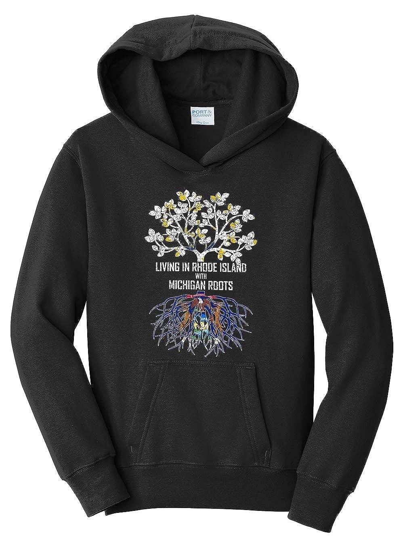 Tenacitee Girls Living in Rhode Island with Michigan Roots Hooded Sweatshirt