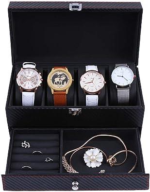 FIONAT Cajas para Joyas Hombre Mujer Regalo Viaje Caja para Relojes Caja De Almacenamiento De Anillo De Cuero De PU Negro De Escritorio De Fibra De Carbono 22.2 * 11 * 11.2Cm: Amazon.es: Joyería