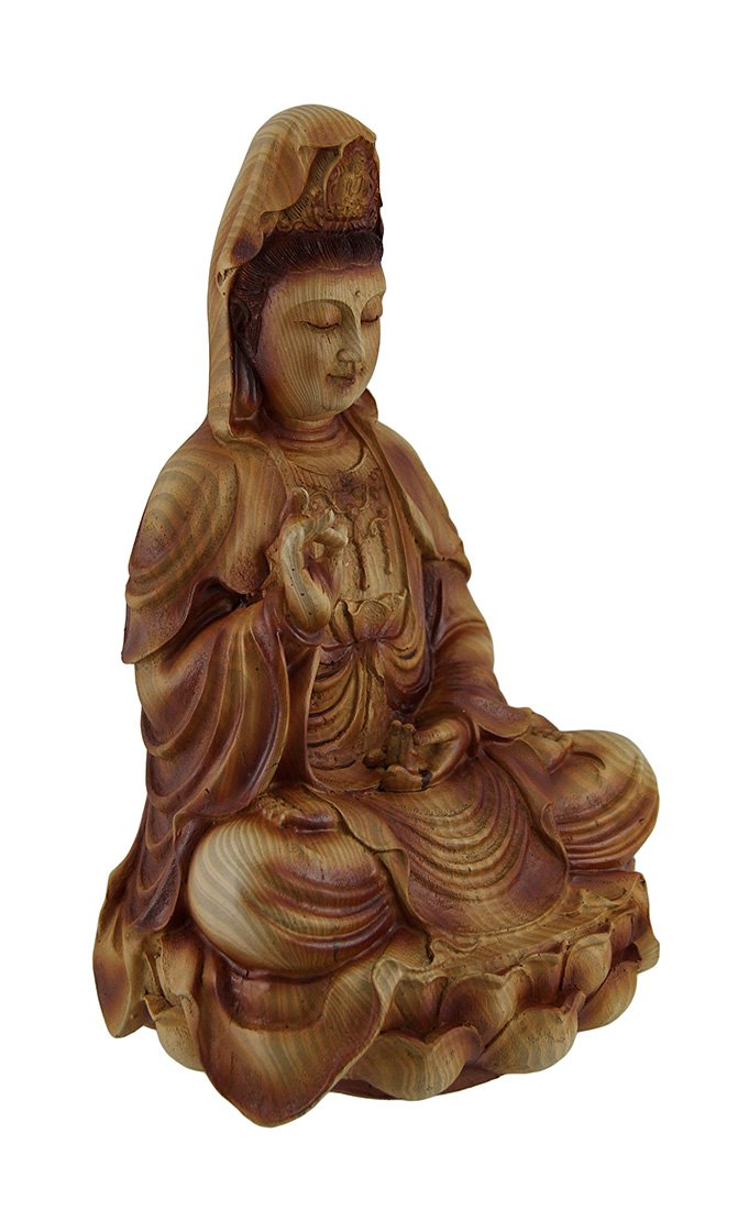 Zeckos Resin Statues Guanyin Goddess of Mercy Sitting On Lotus Wood Finish Statue 5.25 X 9 X 4.75 Inches Brown by Zeckos (Image #2)