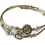 Doinshop New Nice Fashion Tibetan Silver Retro Women Hand Chain Bracelet Jewelry (Three Roses)