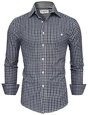 Tom's Ware Mens Classic Slim Fit Plaid Longsleeve Dress Shirt