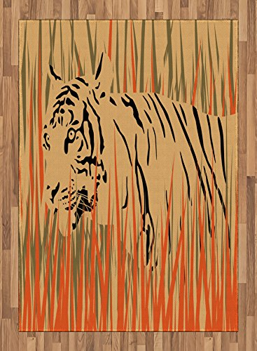 Africa Area Rug by Ambesonne, Tiger in the Bushes Camouflage Carnivore Predator Feline African Safari Animal Art, Flat Woven Accent Rug for Living Room Bedroom Dining Room, 5.2 x 7.5 FT, Peach Orange by Ambesonne