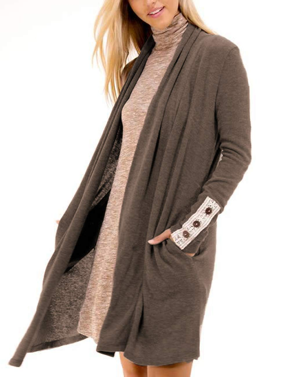 ACKKIA Women's Lightweight Open Front Shawl Collar Long Sleeve Knit Cardigan Deep Taupe Size XXL
