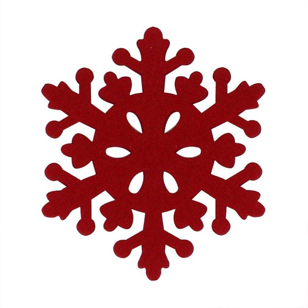 4Pcs Snowflake Shaped Coaster,Morecome Anti-Skid Table Placemat Xmas Holiday Decor