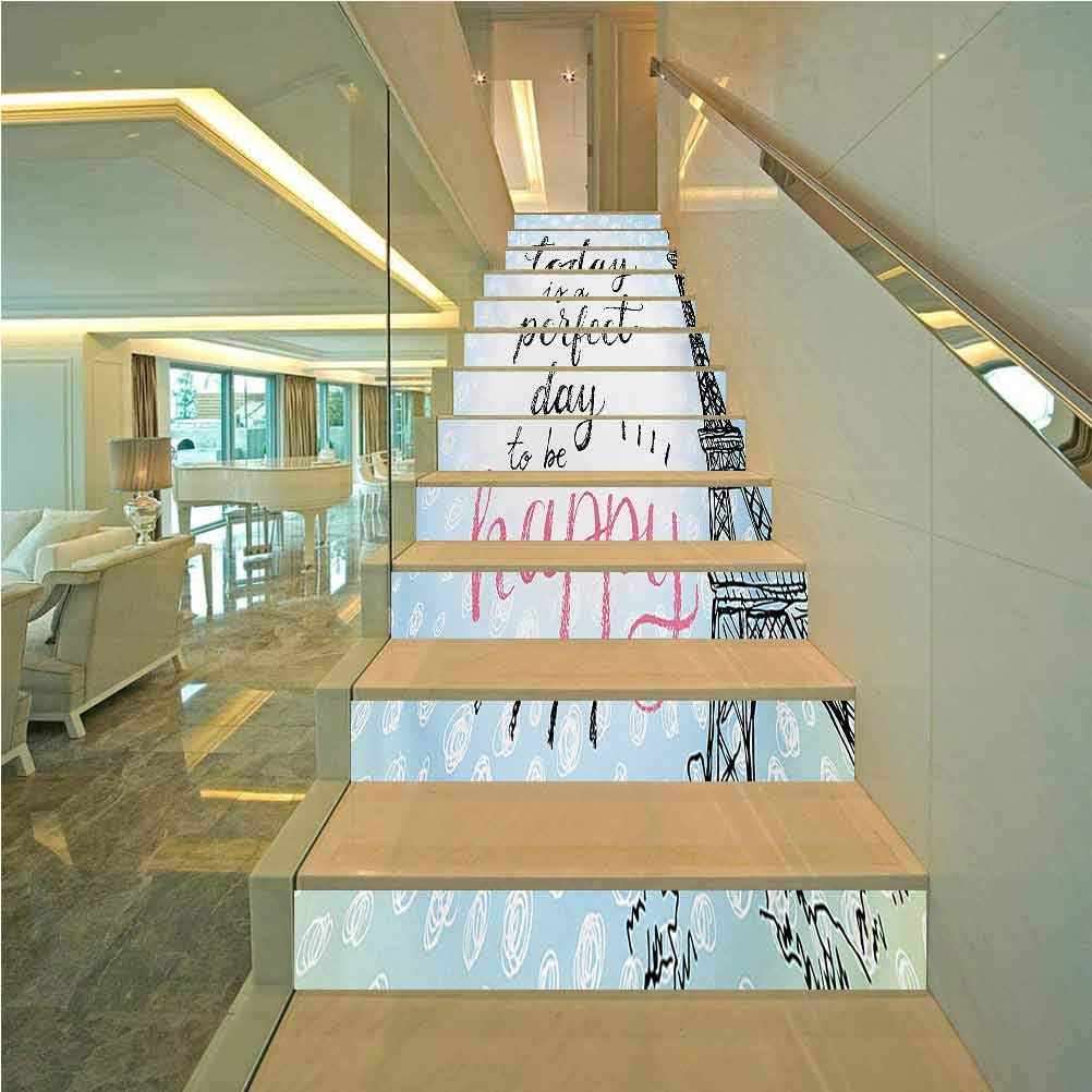 Decorative Stair Riser Decals Peel and Stick, Eiffel Tower Perfect Day Eiffel Tower Polka Dot Handwriting, Indoor and Outdoor Stair Treads to Prevent Slipping, W43.3 x H7.08 Inch x13PCS