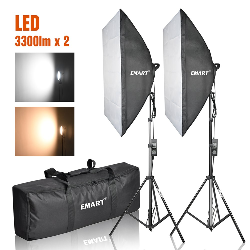 Emart Photography Softbox Lighting Kit, Photo Equipment Studio Softbox 20'' x 27'', 45W Dimmable LED with Double Color Temperature for Portrait Video and Shooting