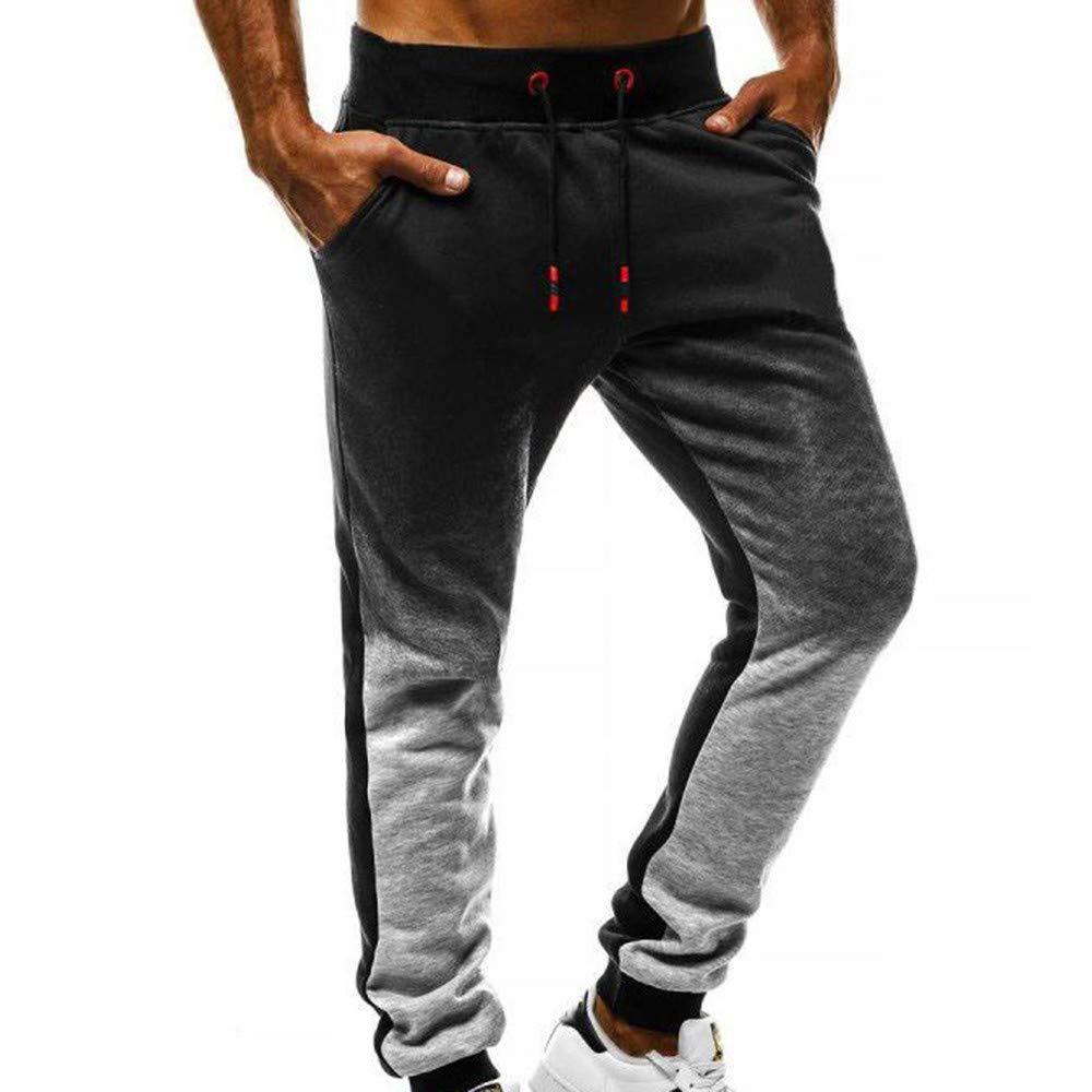 Sunnywill Pantaloni Lunghi da Uomo Cargo con Tasche Laterali con Coulisse Colore sfumato Pantaloni di Pantaloni Sportivi Elasticizzati Casual Uomo