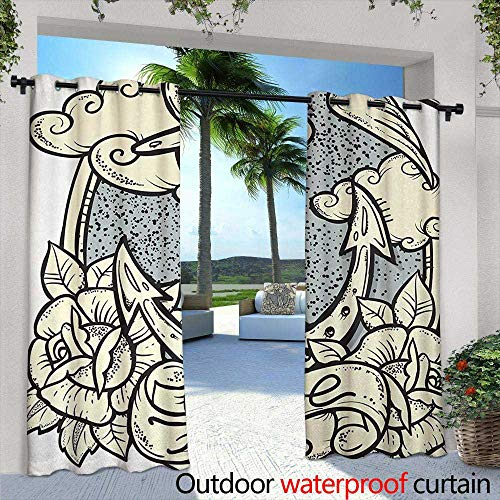 Tim1Beve Indoor/Outdoor Curtains Anchor Anchor and Roses Antique Monochrome Clouds Bird Wings Old Style Sketching Print for Patio/Front Porch 108