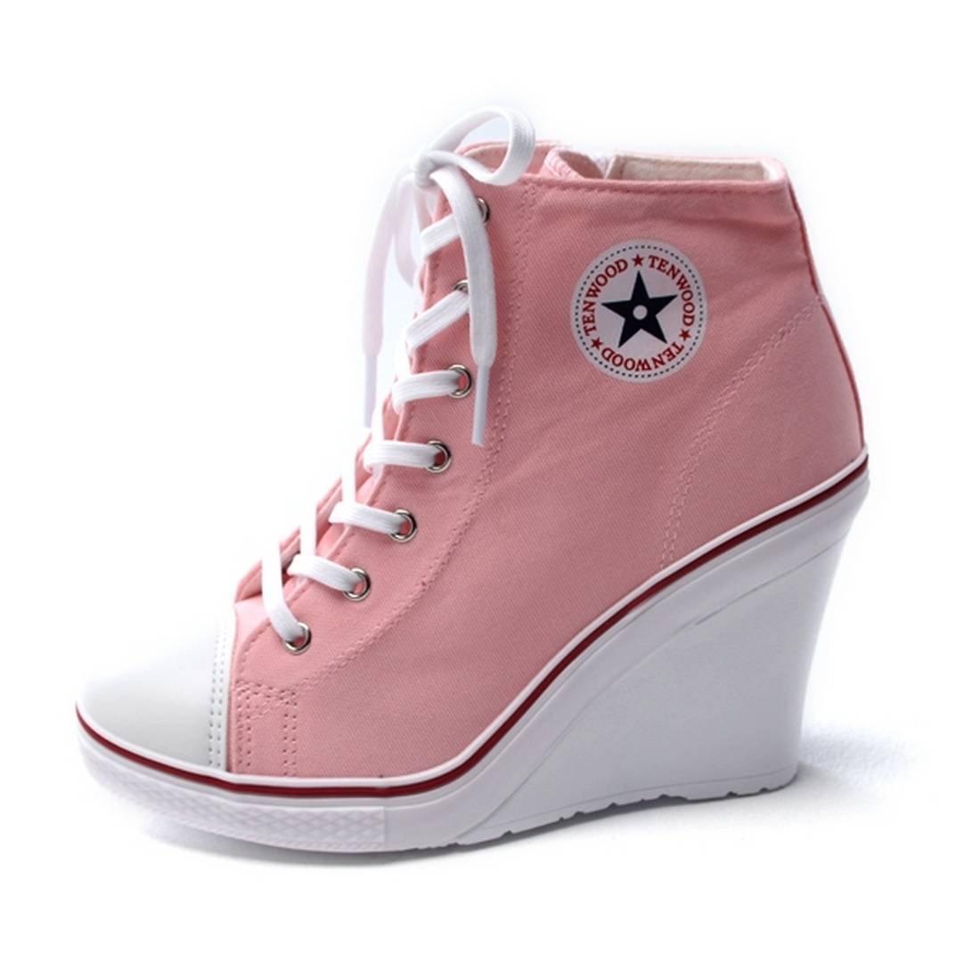 9b22996e3c6 EpicStep Women s High Top Wedges High Heels Fashion Sneakers Pink 8 M US   Amazon.ca  Shoes   Handbags