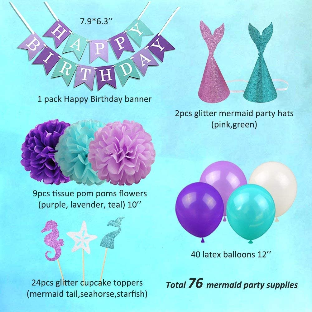 2 Party Hats,Birthday Banner,Party Balloons,Paper Flowers MissEmily Girls Princess Ariel Party Supplies,Birthday Party Favors 76 Pc Set
