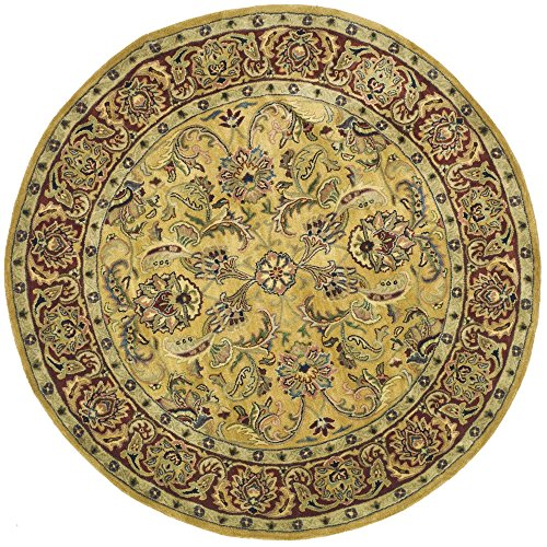 Safavieh Classic Collection CL398A Handmade Traditional Oriental Gold and Red Wool Round Area Rug (5' Diameter)