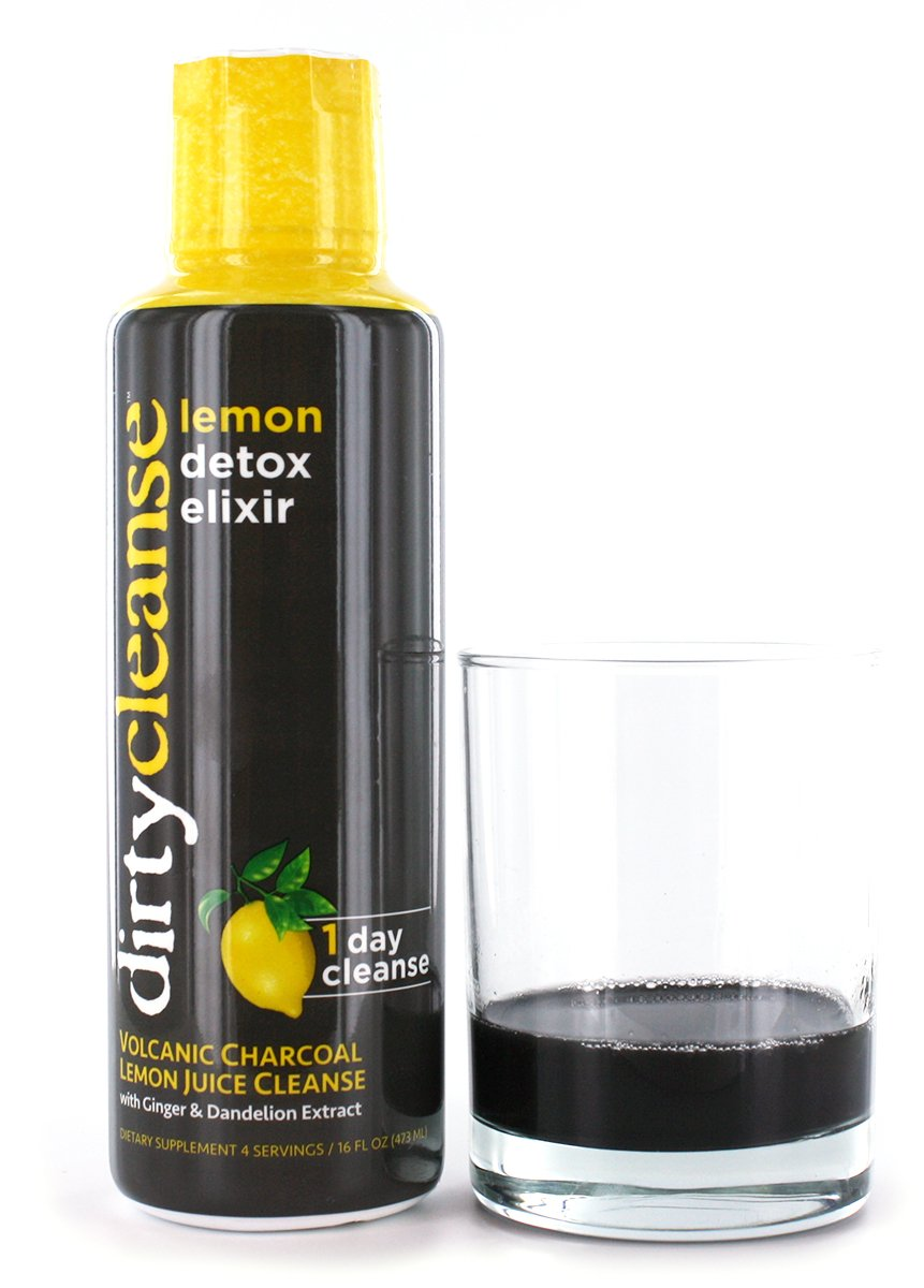 Dirty Cleanse Lemon Detox with Volcanic Charcoal with Ginger and Dandelion  Extract, 4 servings