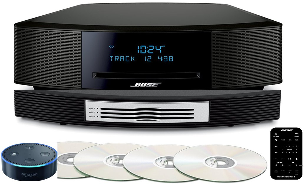 Bose Wave Music System IV Bundle with Multi-CD Changer and Amazon Echo Dot with Alexa, Espresso Black or Platinum Silver