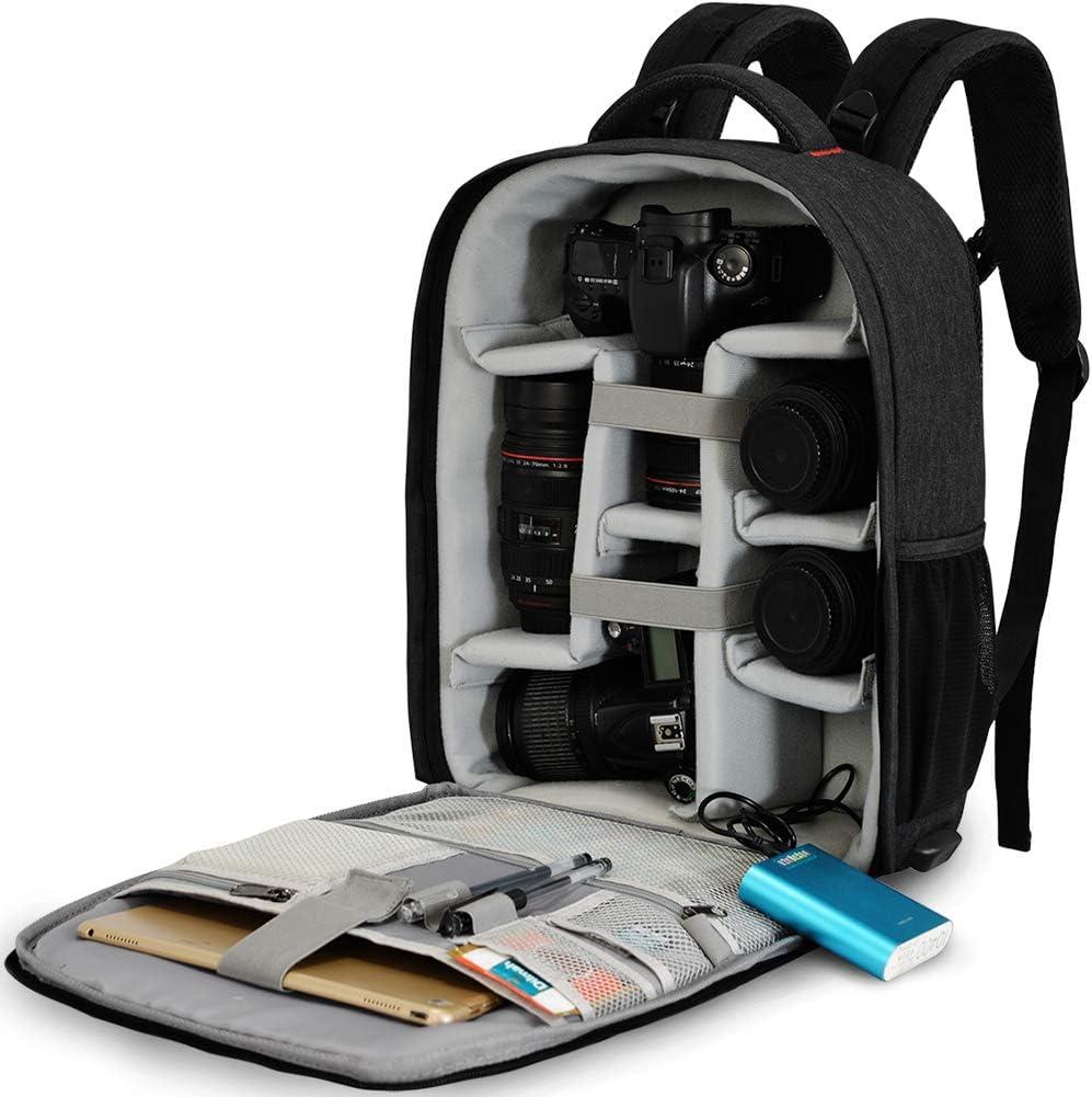 Caden Kamerarucksack Spiegelreflex Tasche Wasserabweisend Fotorucksack Mit Regenschutz Camera Backpack Bag Kompatibel Mit Canon Nikon Sony 2 Dslr 7 Objektiv Stativ Koffer Rucksäcke Taschen