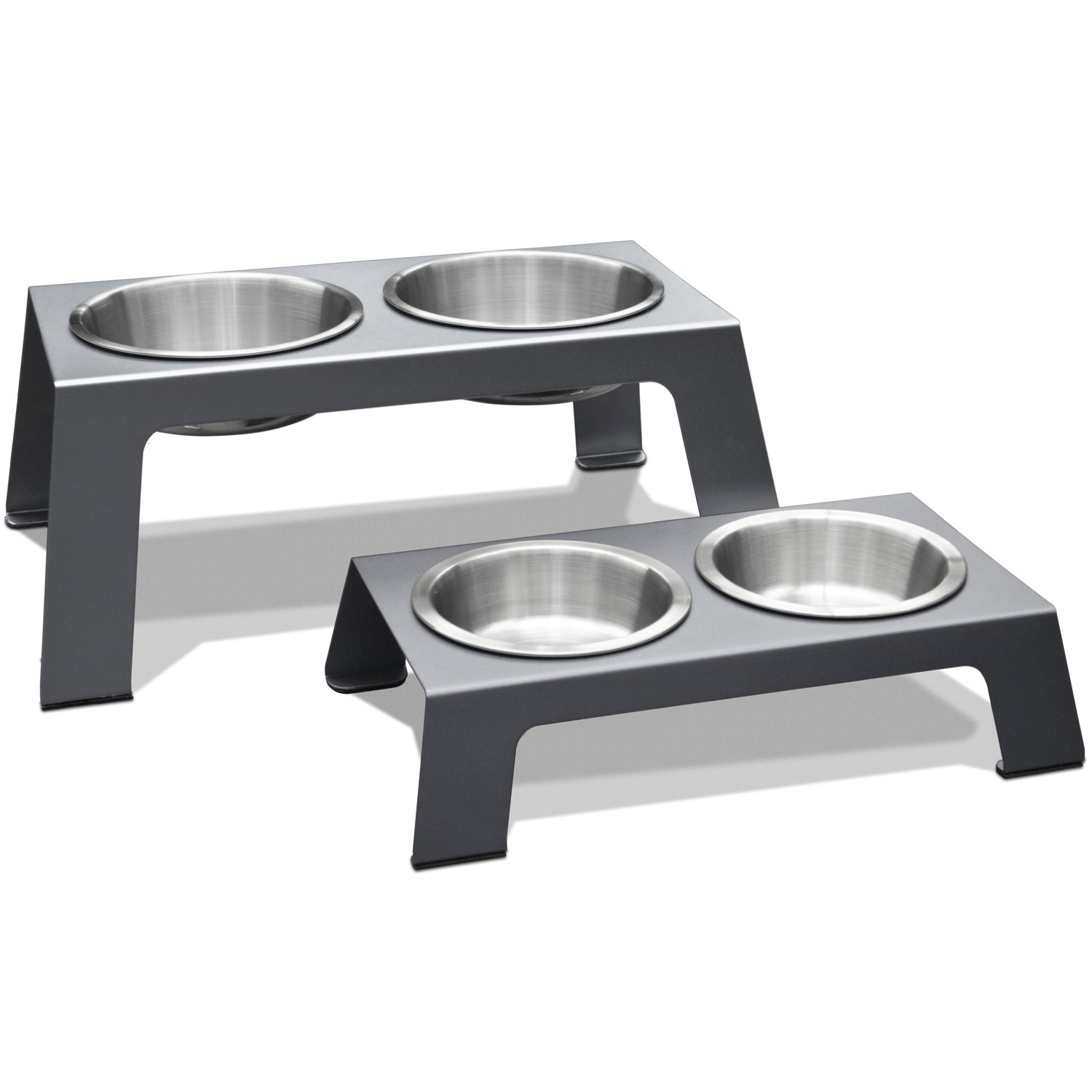 PetFusion Elevated Pet Feeder in Premium Anodized Aluminum (Short 4''). 3 US FOOD GRADE SS bowls, incl shallow 1'' to avoid whisker fatigue