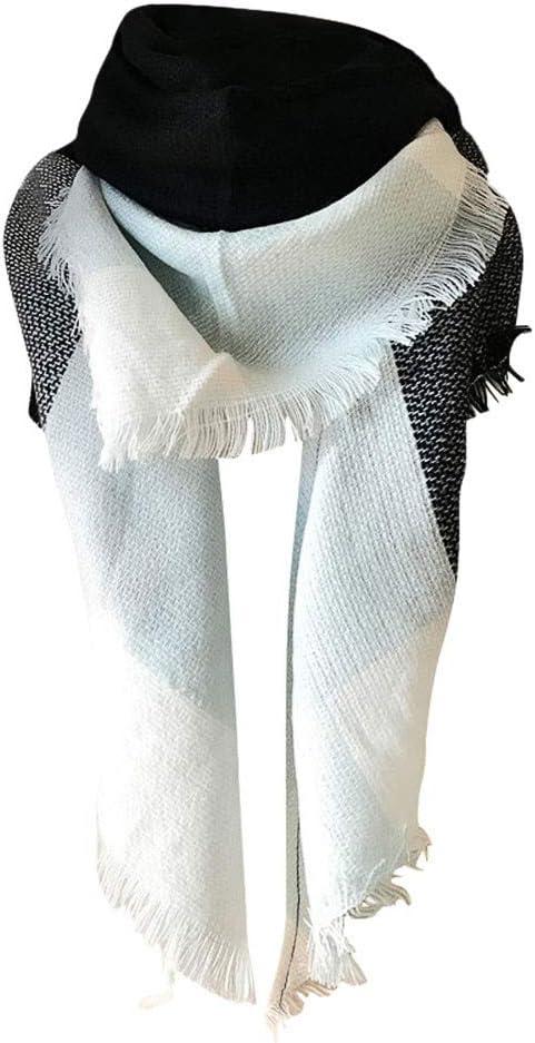 ELECTRI Femmes Epais Chaude Foulards Temp/érament de Laine Couleur Stitching Grand Ch/âle,/Écharpe /à Carreaux Femme Ch/âle /Épaissi Chaud dhiver avec Glands D/écoratifs