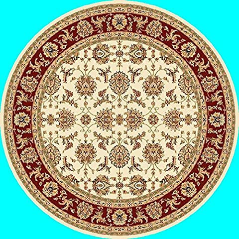 Kas 7312 Cambridge 7-Feet 7-Inch RoundRug, Ivory/Red Kashan - Kashan Red Rug