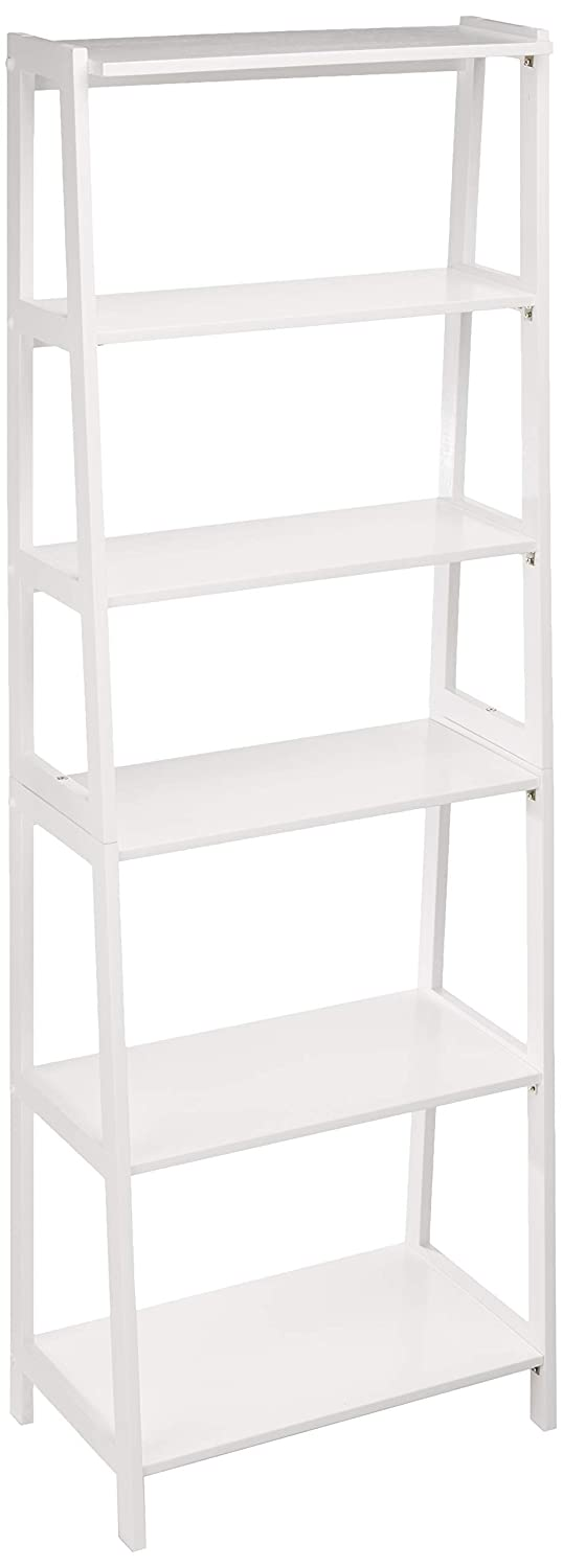 AmazonBasics Classic 5-Tier Open Bookcase with Solid Rubber Wood - White