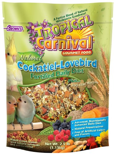 F.M.Brown's Tropical Carnival Natural Cockatiel-Lovebird Food, 2.5-Pound Package, My Pet Supplies
