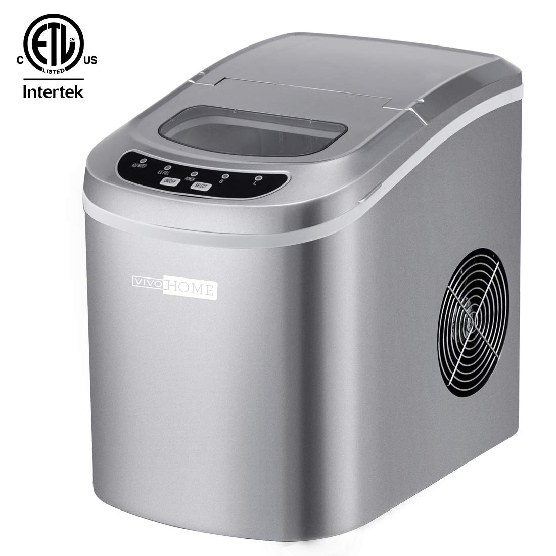 VIVOHOME Portable Electric Automatic Countertop Ice Cube Maker Machine 26lbs/day Silver ETL Listed