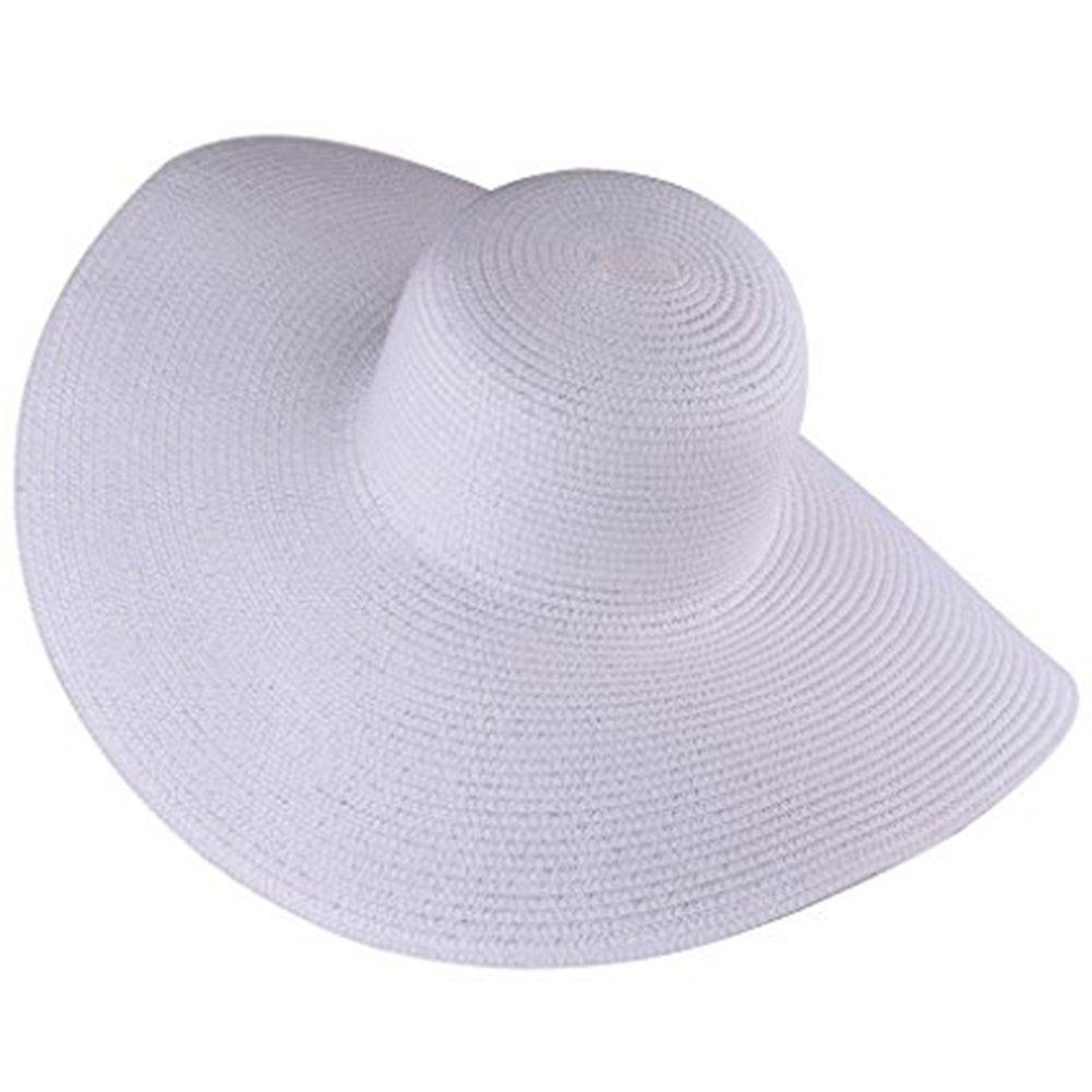 Itopfox Women's Beachwear Sun Hat Striped Straw Hat Floppy Big Brim Hat WT, White, One Size