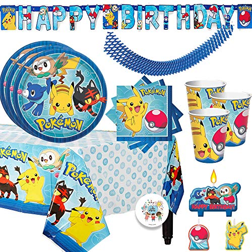 Pokemon Birthday Party Supplies Pack For 16 Guests With Plates, Beverage Napkins, Tablecover, Candles, Cups, Birthday Banner, Plus Exclusive Pin By Another Dream