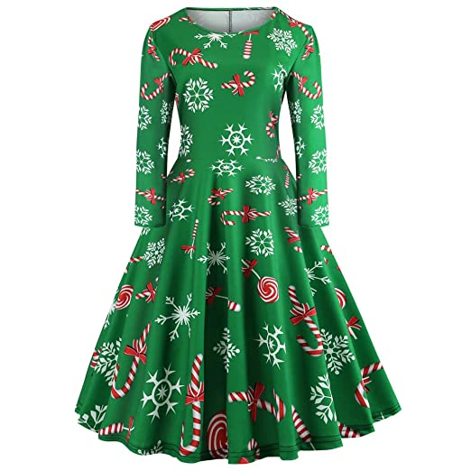 Women Dresses Godathe Christmas Womens Long Sleeve O Neck Printing Vintage Gown Evening Party Dress S