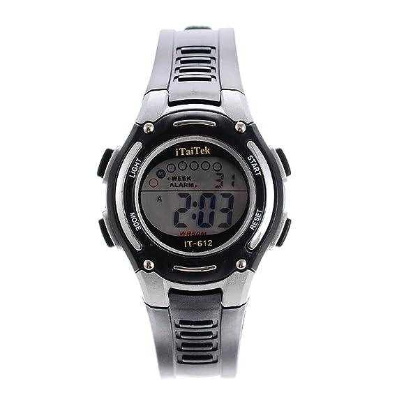 Souarts banda negra roja pantalla LED digital multifuncional Dial reloj de pulsera de cuarzo 23 cm: Amazon.es: Relojes