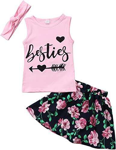 Floral Skirt Clothes Set Outfits 2-7Y Cute Girls Summer Sleeveless Tank Tops