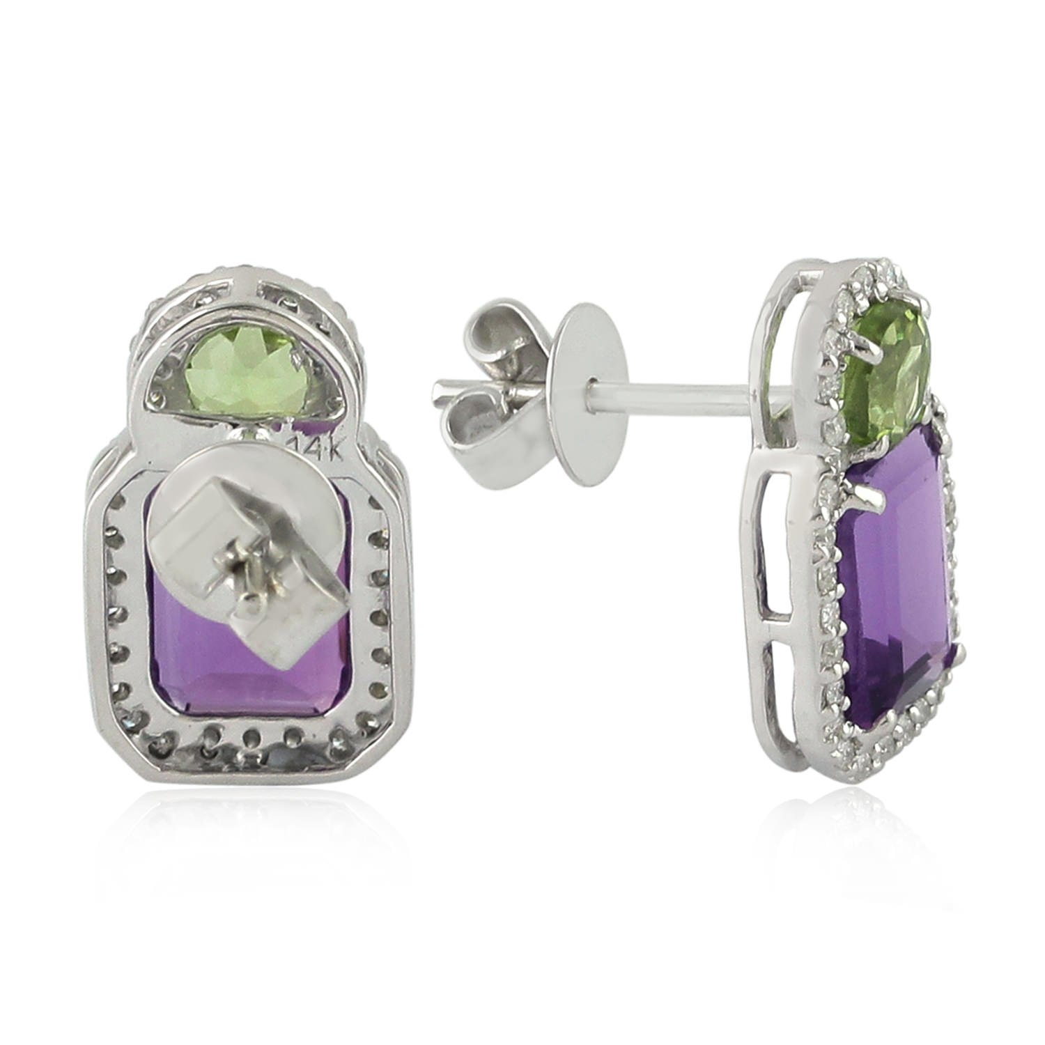 14K White Gold and Amethyst Stud Earrings Diamond Peridot Jewelry Gemco Designs OPS-16325