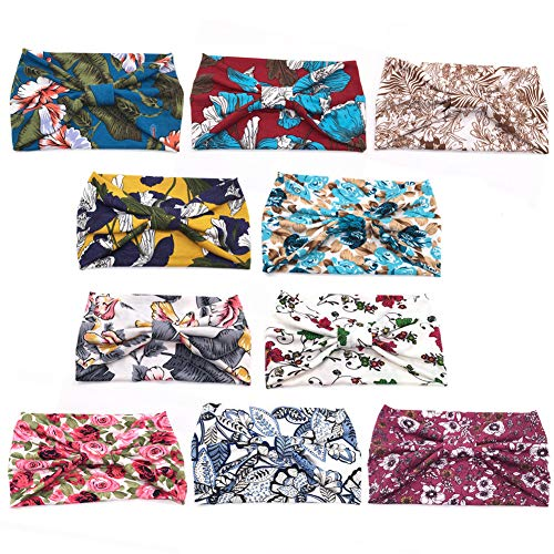 ransiy 10 Pack Women Floral Boho Headbands Turban Knotted Headwraps Vintage Wide Yoga Hairbands