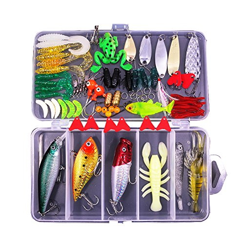 77-Pcs Fishing Lures Kit Set For Bass,Trout,Salmon,Including Spoon Lures ,Soft Plastic worms, CrankBait,Jigs,Topwater Lures (with Free Tackle Box)-by Saimanqiu ()