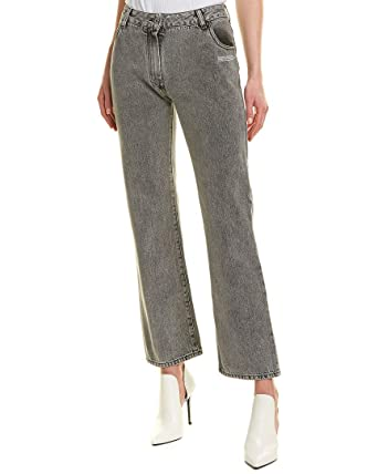 ab99649feee67 OFF WHITE Womens Cropped Dark Grey Wash Straight Leg Jean, 26 at ...