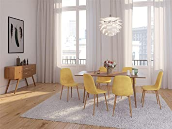 Amazon Chaise Salle A Manger.Chaise Salle A Manger Scandinave Velours Scandinave 45 55 85cm Jaune