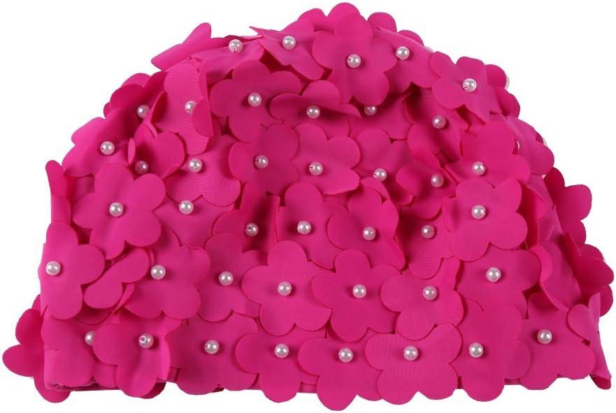 Moresave Sombrero de nataci/ón artificial para mujer con perlas y p/étalos