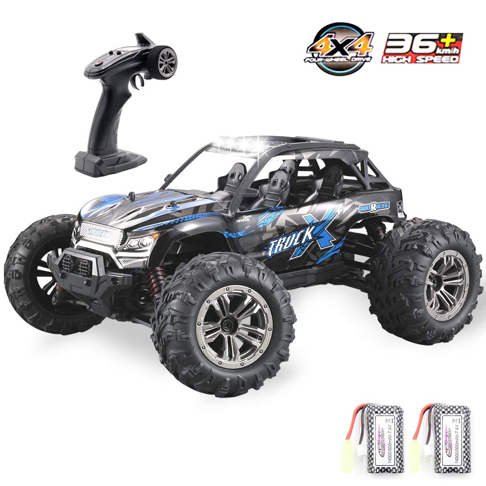 GMAXT Rc Cars,9137 Remote Control Car,1/16 Scale 36km/h,2.4Ghz 4WD High Speed Off-Road Vehicles with Car Light and 2 Rechargeable Batteries,Give The Child Best Choice