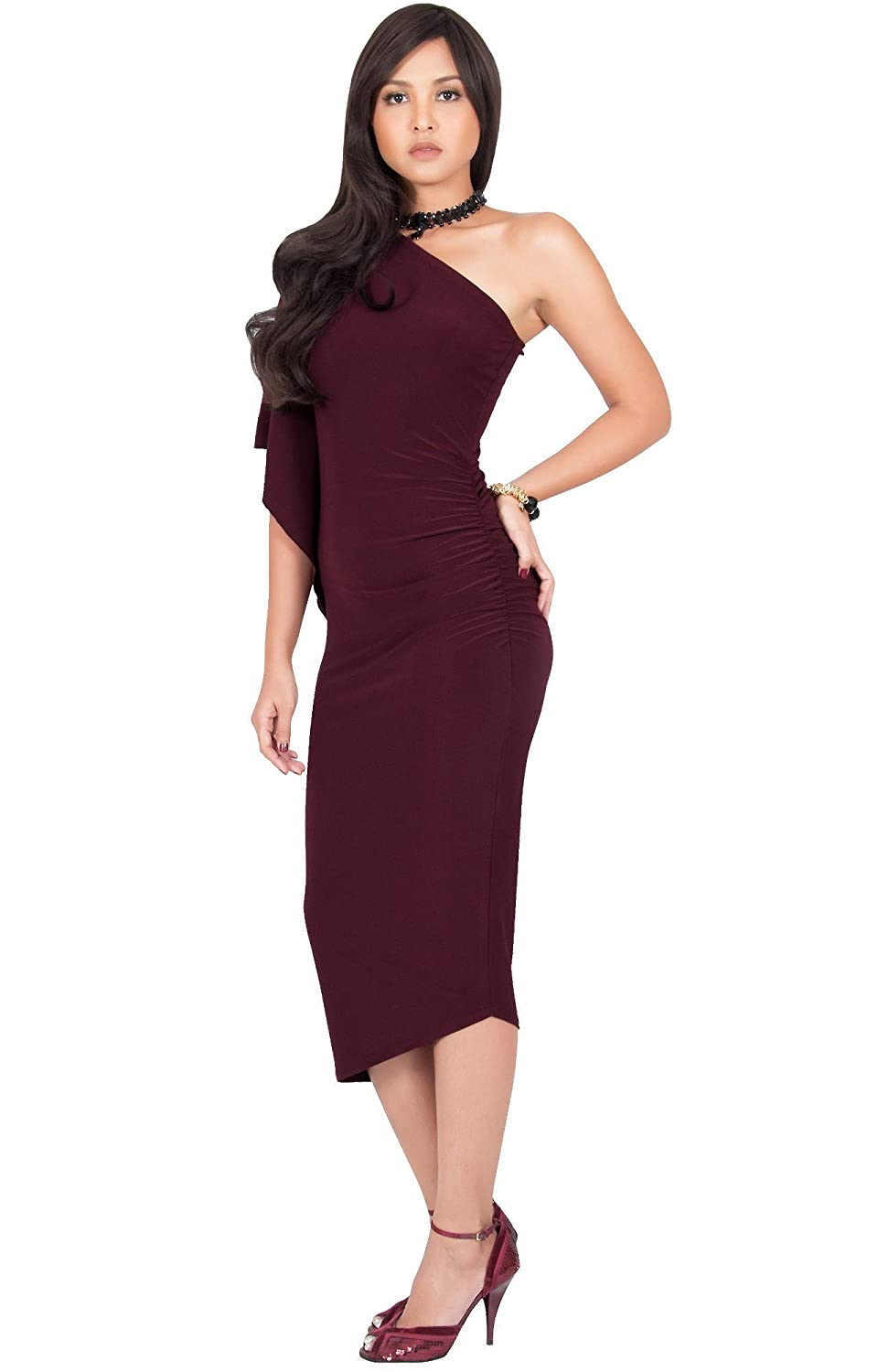 518aa6d6e6 KOH KOH Womens One Shoulder Sexy Long Semi Formal Cocktail Bridesmaid Midi  Dress at Amazon Women's Clothing store: