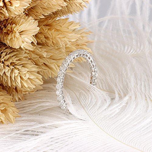 DovEggs 10K White Gold 1.6CTW 2.5mm G-H-I Color Moissanite Eternity Engagement Ring Wedding Band for Women (6.5)
