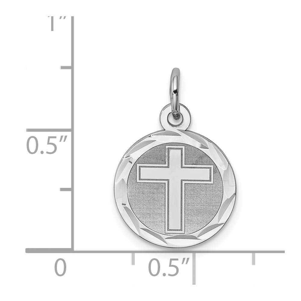 12mm x 20mm Solid 925 Sterling Silver Cross Disc Pendant Charm