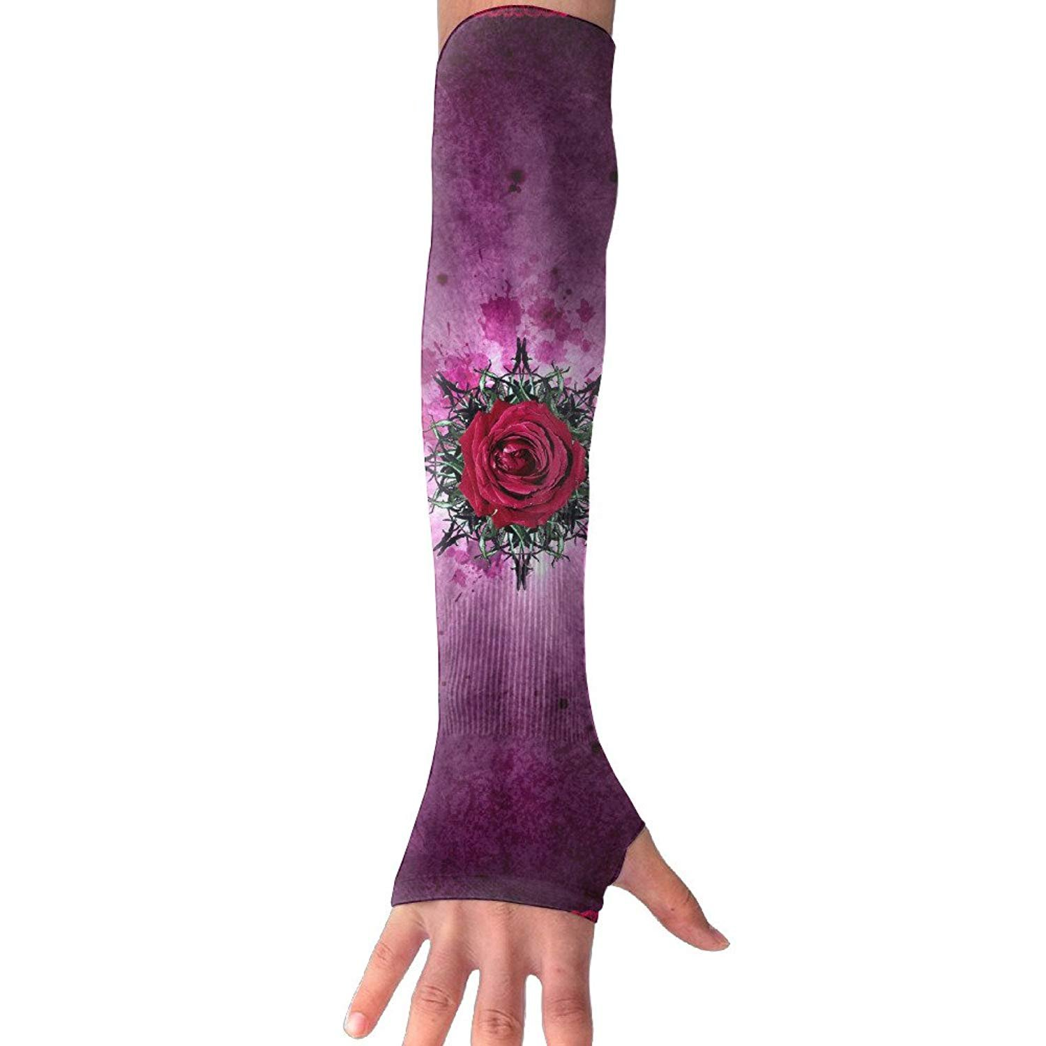Unisex Rose Border Floral Sense Ice Outdoor Travel Arm Warmer Long Sleeves Glove