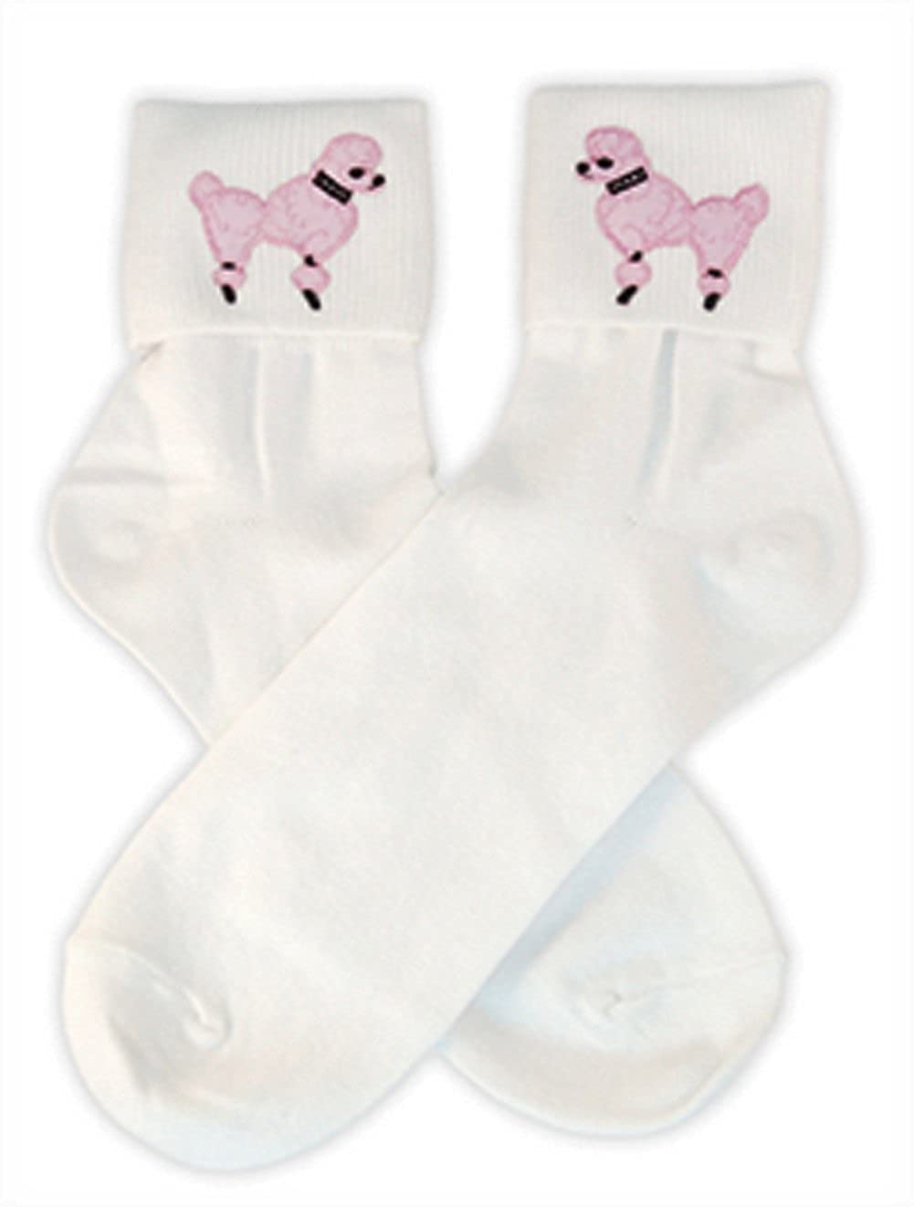 1950s Socks- Women's Bobby Socks  Bobby Sock W/Poodle Applique $9.84 AT vintagedancer.com