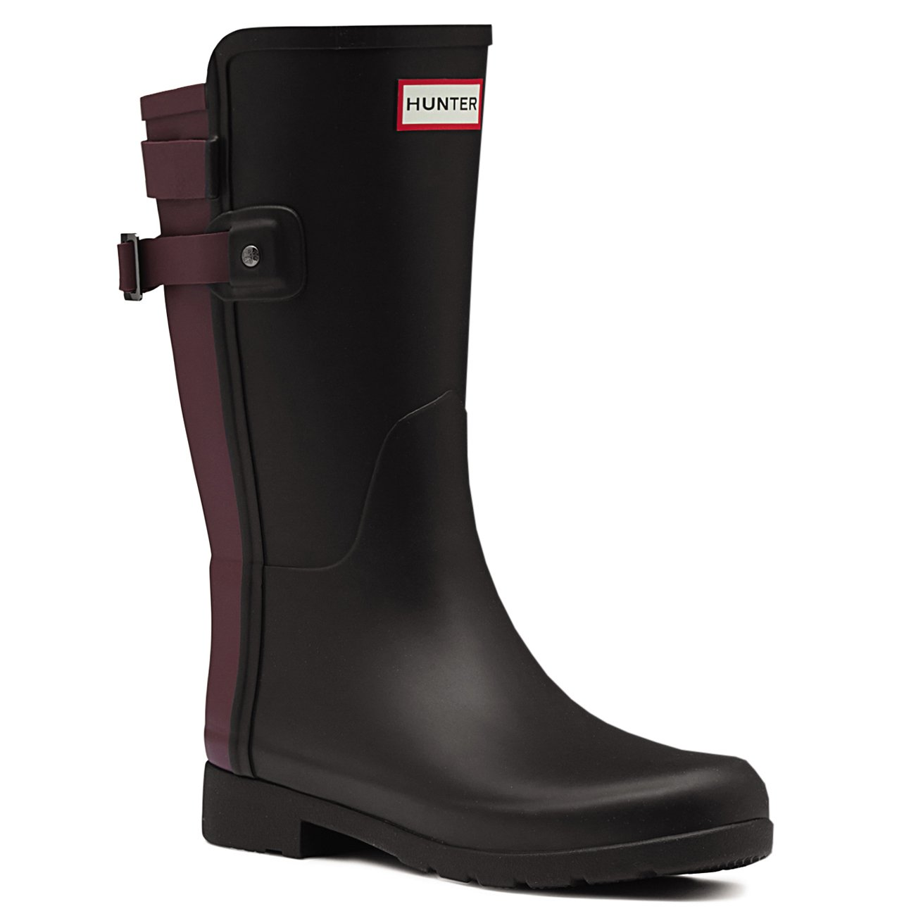 Hunter Womens Original Refined Back Strap Short Wellingtons Rain Boots - Black/dulse - 8