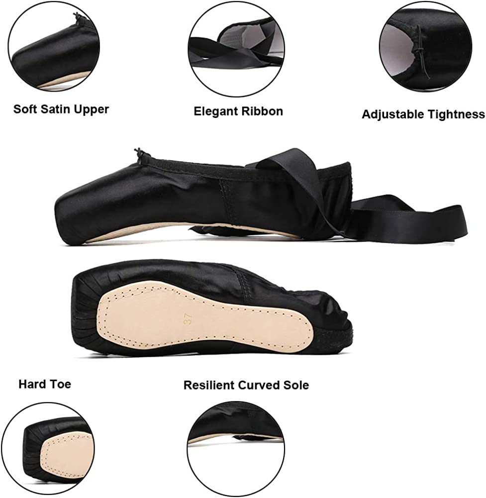 MSMAX Satin Ballet Pointe Shoes Professional Dance Flats