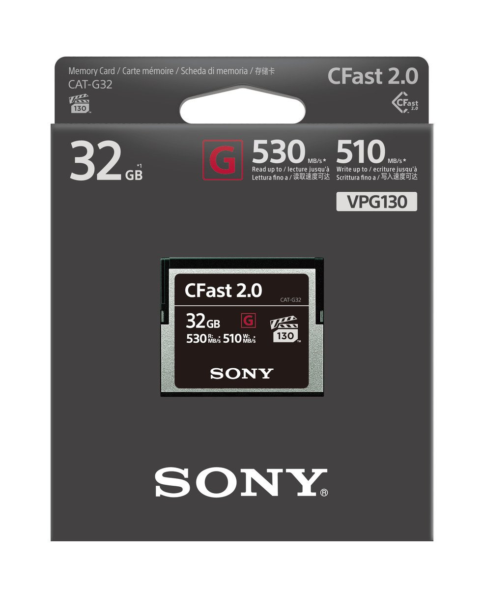 Sony CAT-G32 32GB High Performance CFast G Series 2.0 Memory Card 4 Compatible with Canon EOS 1DX Mark II, Cannon EOS C200, Canon EOS C300 Mark II, Canon C700, Canon XC10 and Canon XC15 Speed: 530MB/s read, Max. 510MB/s write UHS-II, Class 10, U3 Designed for cinema-quality video recording with 130MB/s minimum write speed