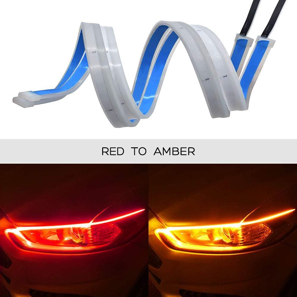Ceyes DRL LED Light Strip Super Bright Waterproof 12V Headlight LED Tube Car Interior//Exterior Decoration Lamp,Running Light,Turn Signal Light-2pcs 24inch Flexible Day Running Light Strip Red-Amber