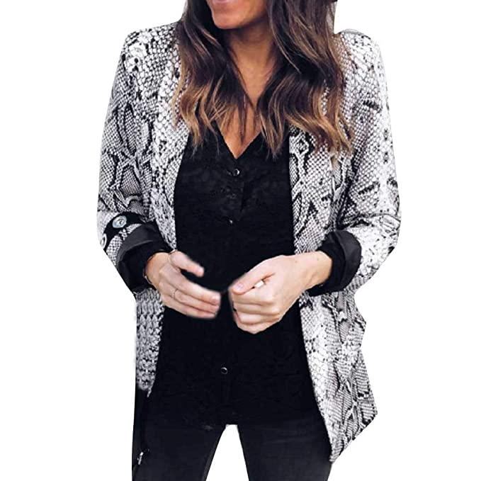 Wanquiy Clearance Womens Casual Jacket Print Suit Autumn Winter Long