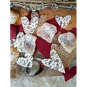 Burlap and Lace Silk Rose Petals Burgundy, Wedding Table Confetti 56