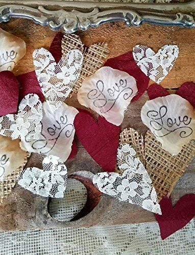 Burlap and Lace Silk Rose Petals Burgundy, Wedding Table Confetti -